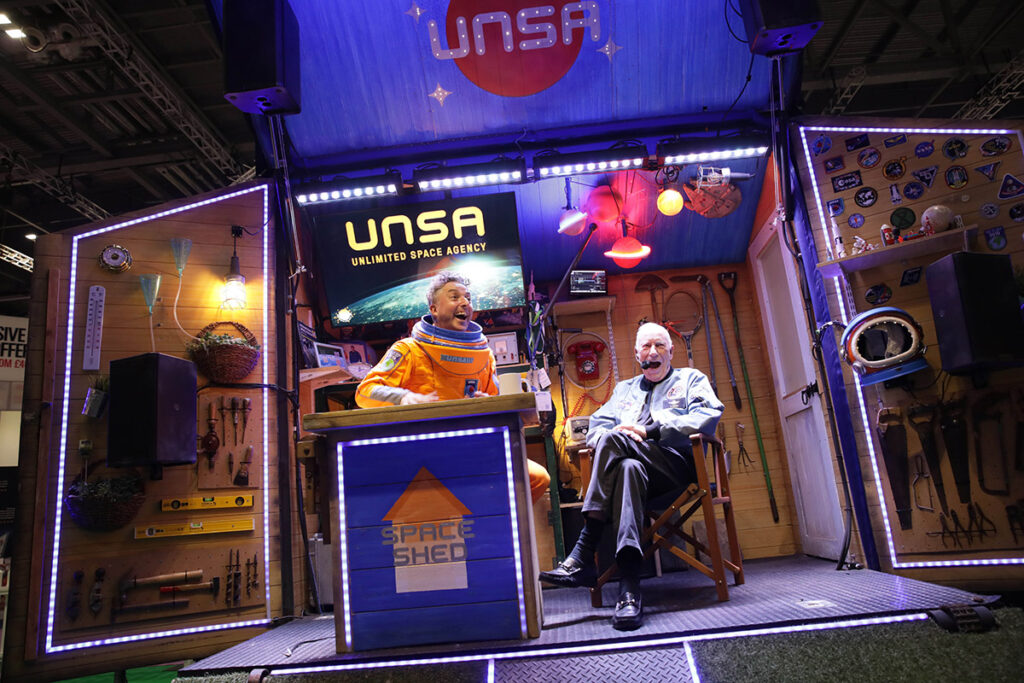 Jon Spooner (L) and Al Worden (R) in the Space Shed at New Scientist Live.